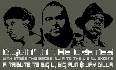 Diggin' In The Crates with Stess The Emcee, DJ A to the L, and DJ E-Zone. Tribute to Big L, Big Pun & Jay Dilla