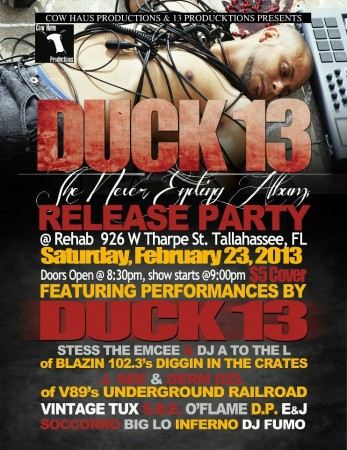 Duck 13 album release party - the flyer