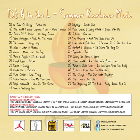 DJ A to the L - Summer Barbecue Music BACK COVER